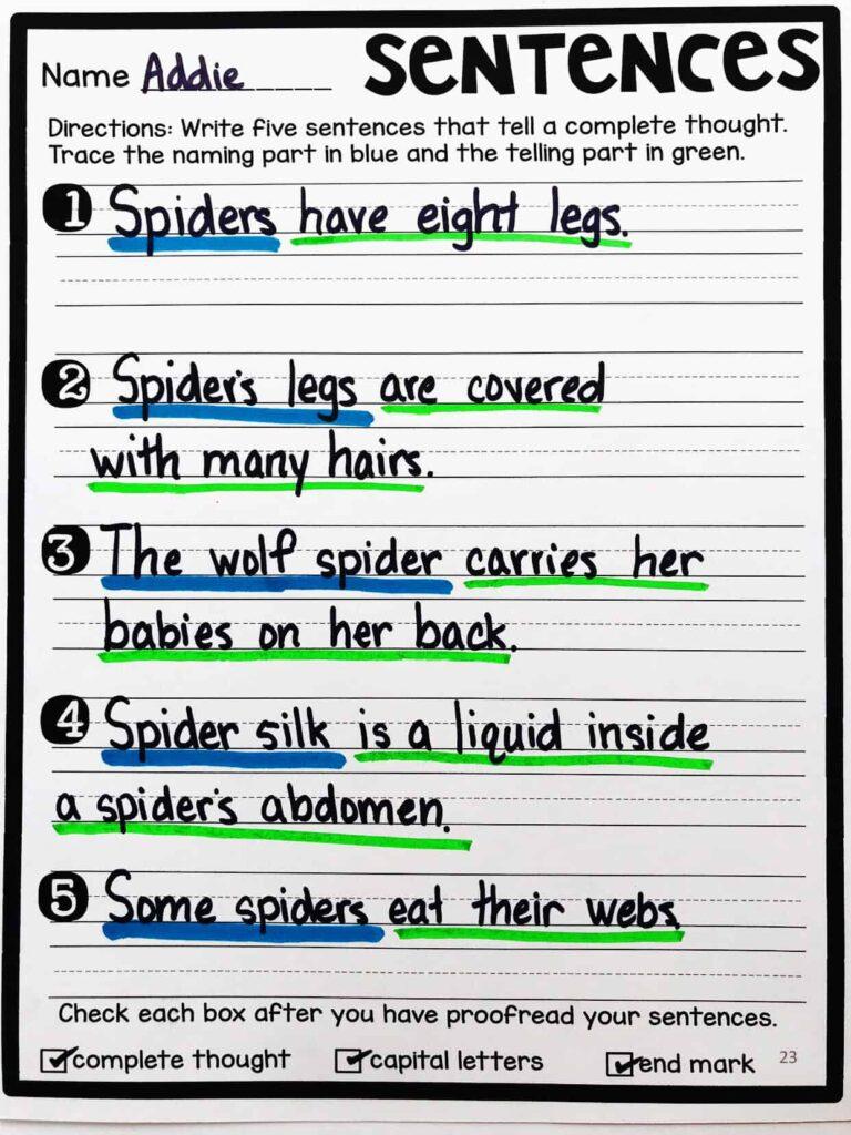 building sentences  expanding sentences  and types of sentences